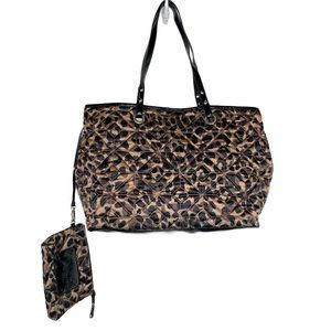 Nine West leopard print quilted tote & wallet